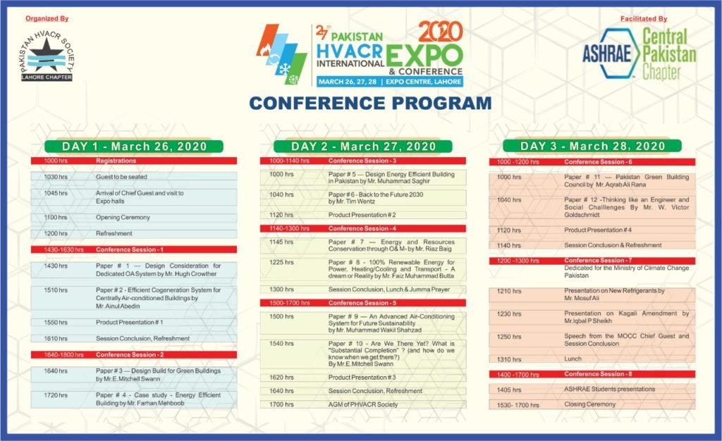 27th Pakistan HVAC&R Conference - schedule